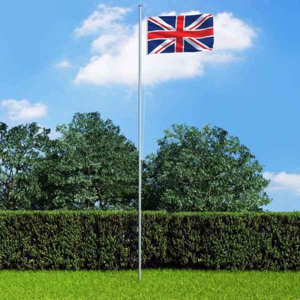 vidaXL Steag Marea Britanie și stâlp din aluminiu, 6,2 m