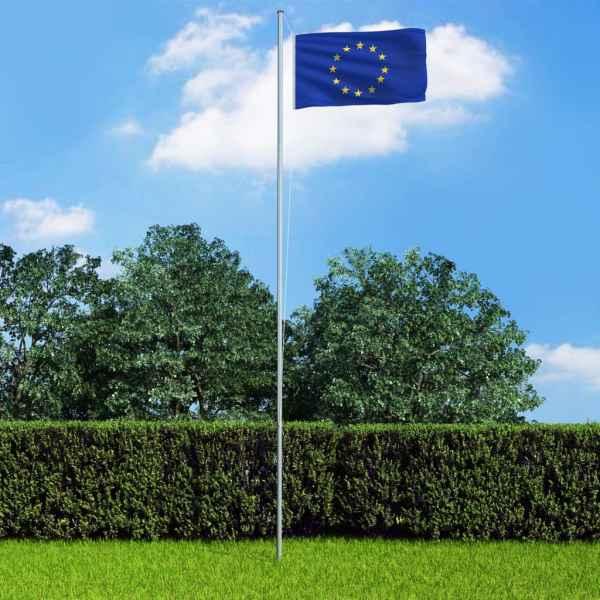 vidaXL Steag Europa și stâlp din aluminiu, 6,2 m