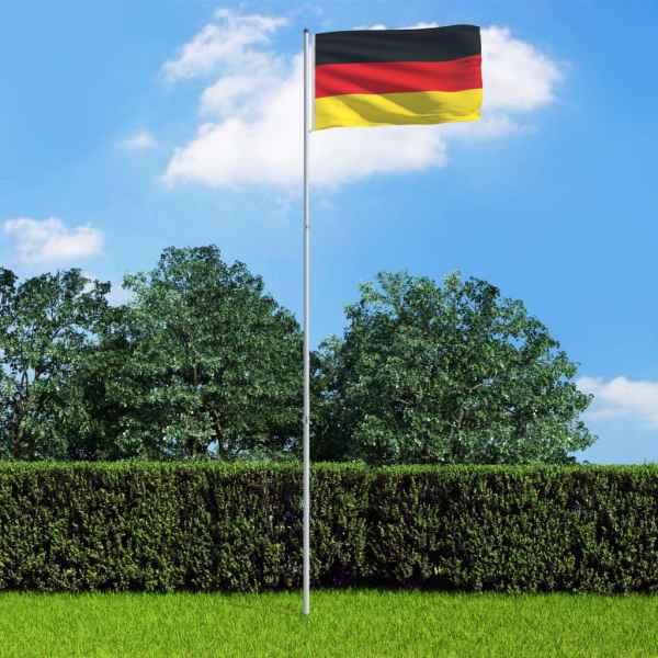 vidaXL Drapel Germania și stâlp din aluminiu 6 m