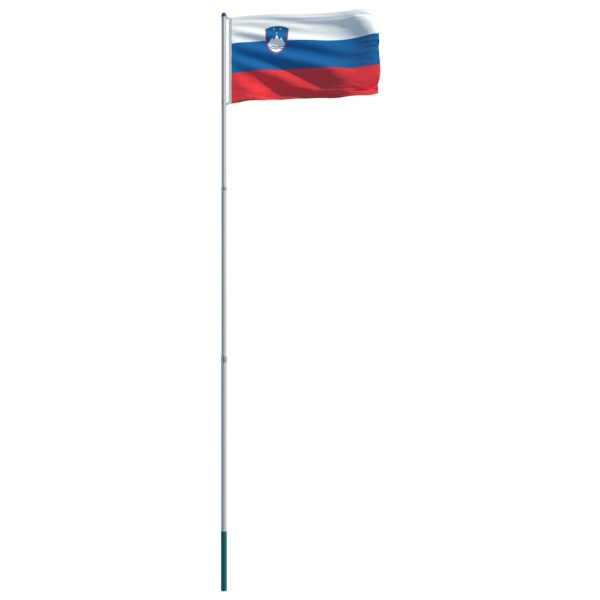 vidaXL Drapel Slovenia și stâlp din aluminiu, 6 m