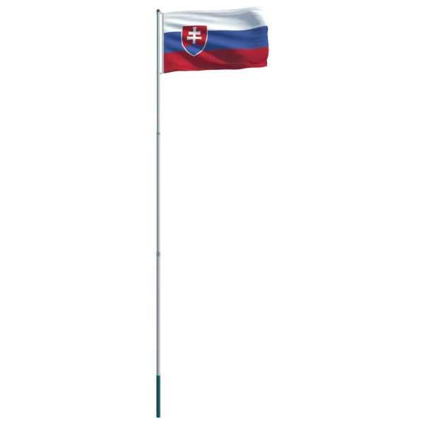 Drapel Slovacia și stâlp din aluminiu, 6 m