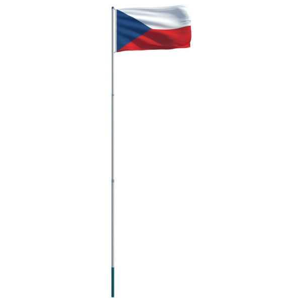 Steag Cehia și stâlp din aluminiu, 6 m