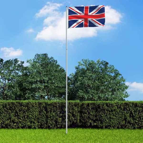 vidaXL Steag Marea Britanie și stâlp din aluminiu 6 m