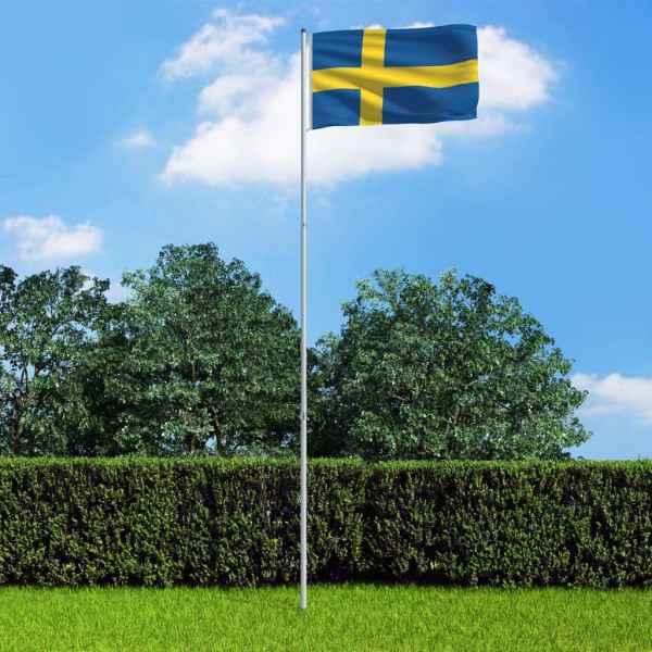 vidaXL Drapel Suedia și stâlp din aluminiu, 6 m