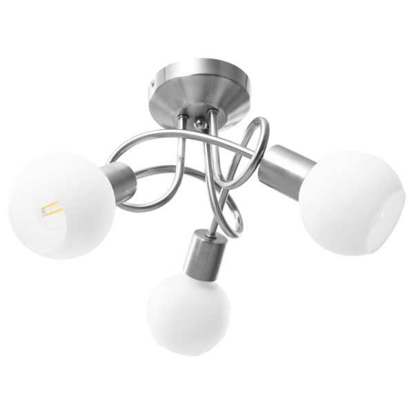 Lustră cu abajururi din ceramică, 3 becuri E14, alb, glob