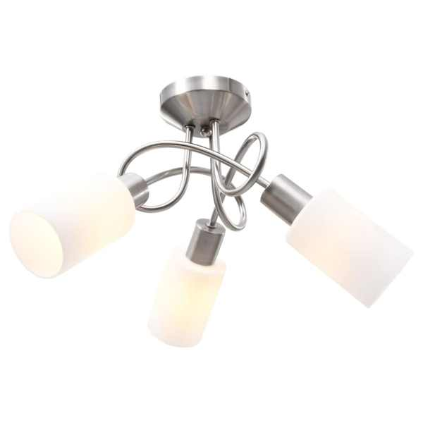 vidaXL Lustră cu abajururi din ceramică, 3 becuri E14, alb, con