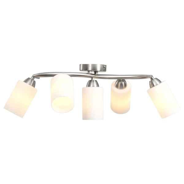 vidaXL Lustră cu abajururi din ceramică, 5 becuri E14, alb, con