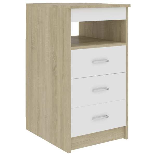 vidaXL Dulap cu sertare, alb și stejar Sonoma, 40 x 50 x 76 cm, PAL