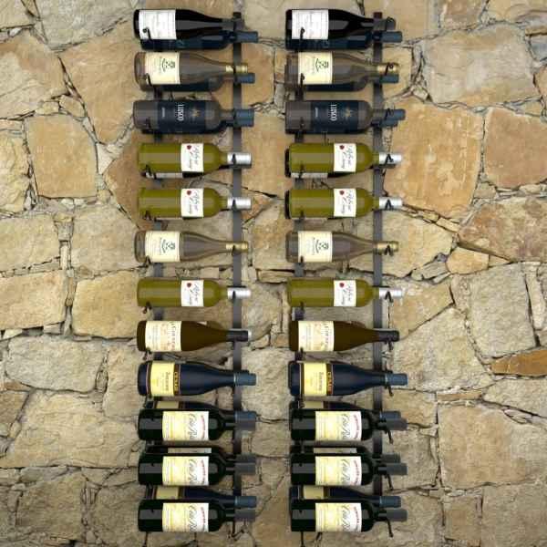 vidaXL Suporturi sticle de vin de perete 48 sticle 2 buc. negru fier