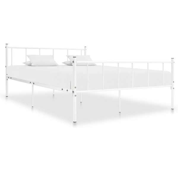 vidaXL Cadru de pat, alb, 180 x 200 cm, metal