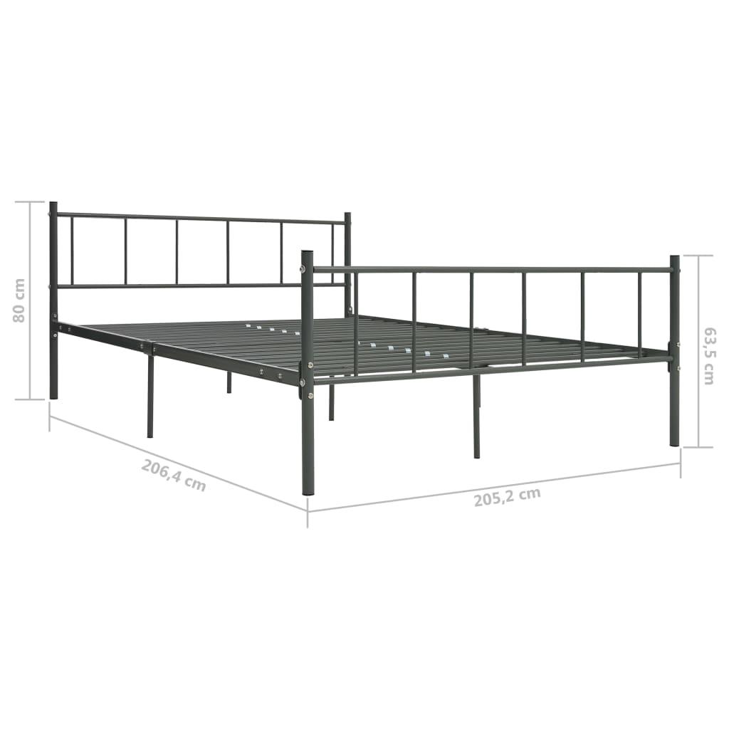 Cadru de pat, gri, 200 x 200 cm, metal