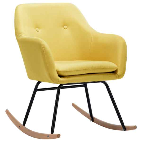 Scaun balansoar, galben muștar, material textil