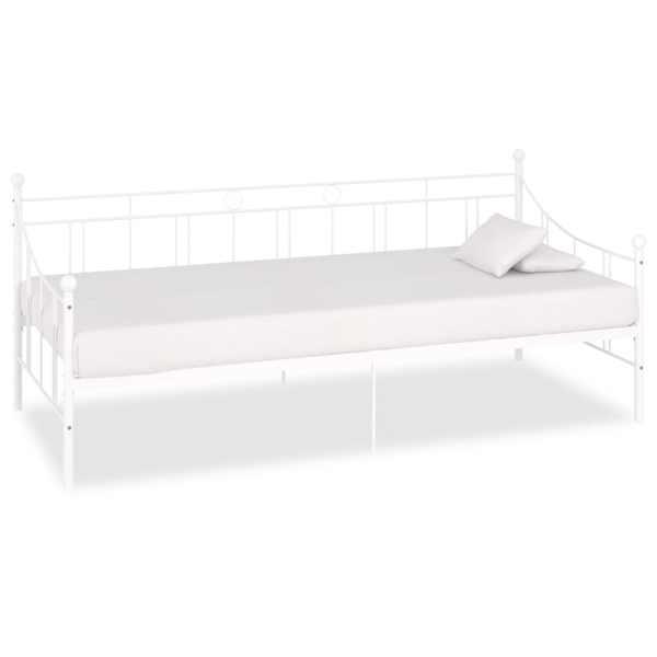 vidaXL Cadru pat de zi, alb, 90 x 200 cm, metal