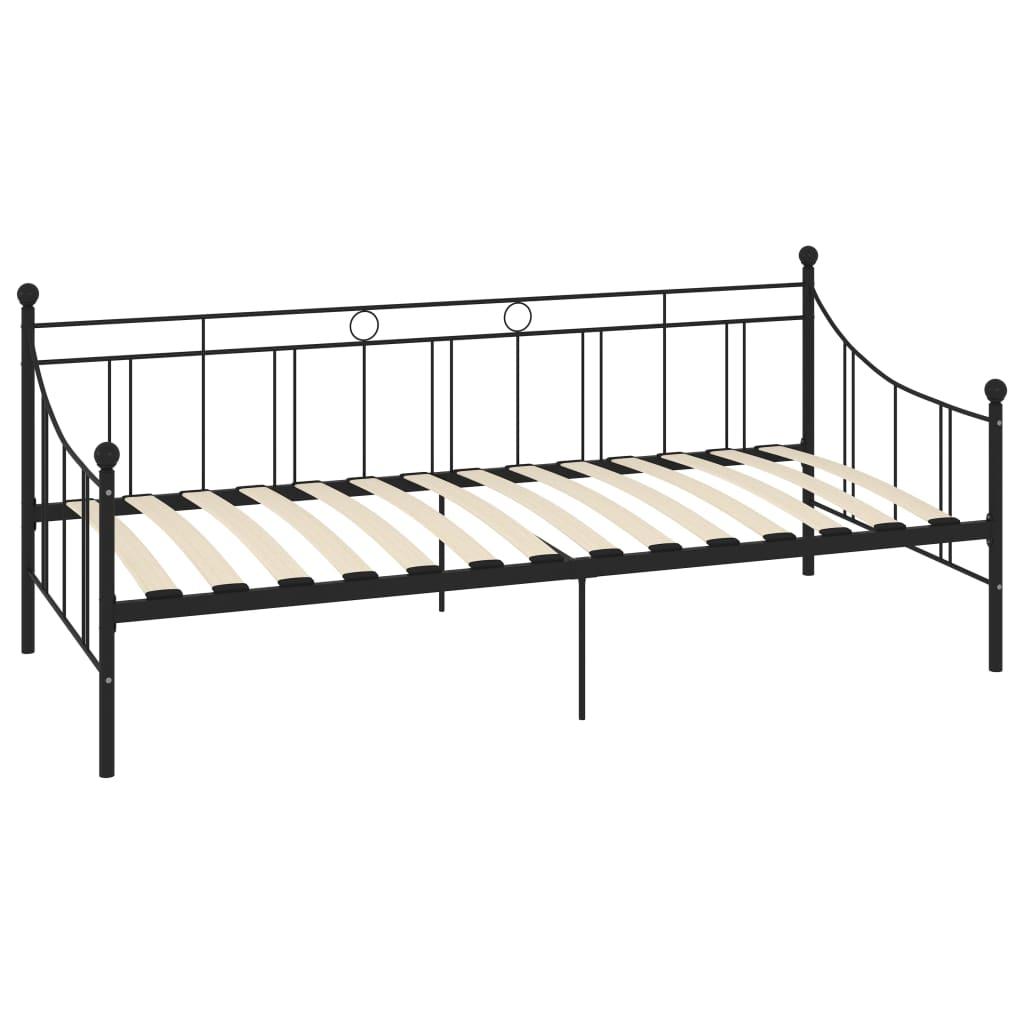 Cadru pat de zi, negru, 90 x 200 cm, metal