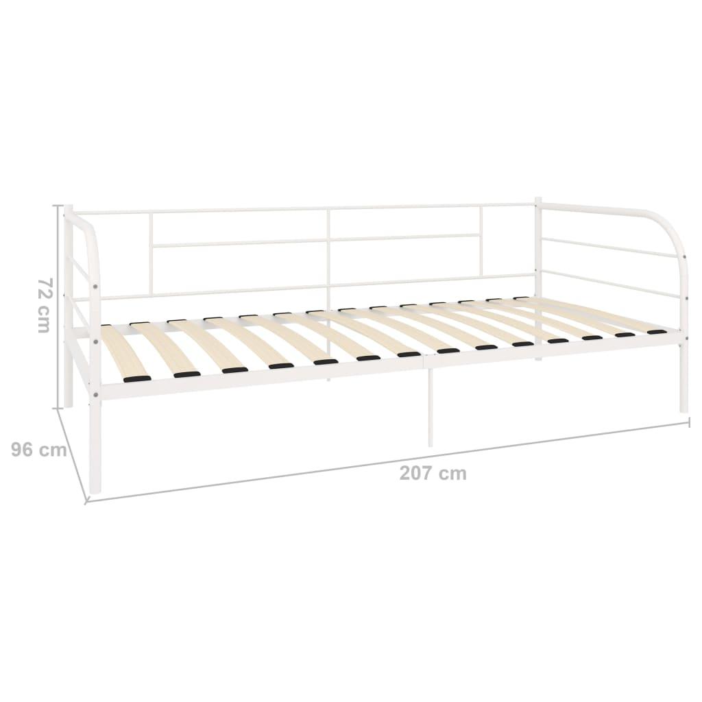 Cadru pat de zi, alb, 90 x 200 cm, metal