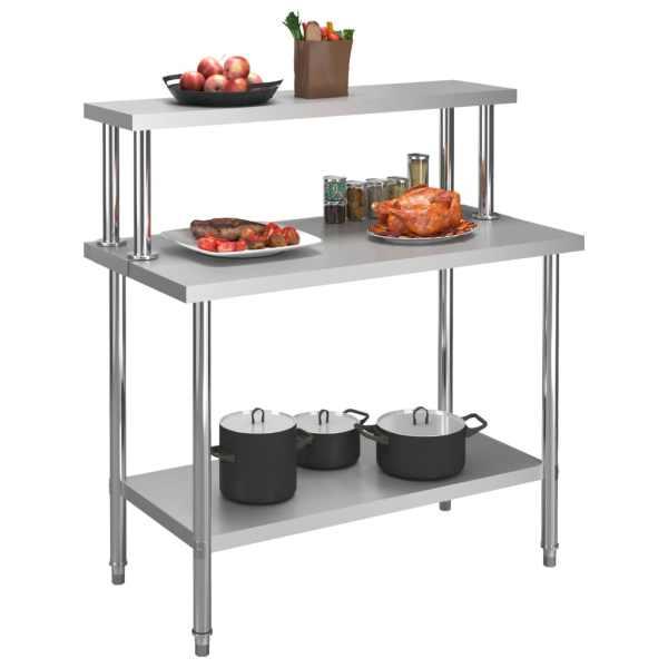 Masă lucru bucătărie cu raft 120 x 60 x 120 cm oțel inoxidabil