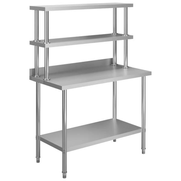 vidaXL Masă de lucru bucătărie, raft superior, 120x60x150 cm, oțel