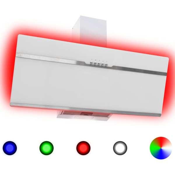vidaXL Hotă RGB cu LED, 90 cm, oțel inoxidabil și sticlă securizată