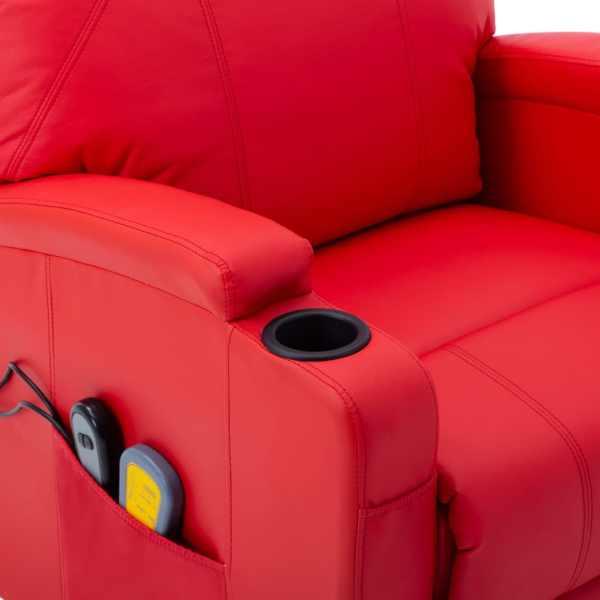 vidaXL Fotoliu de masaj cu ridicare, roșu, piele ecologică