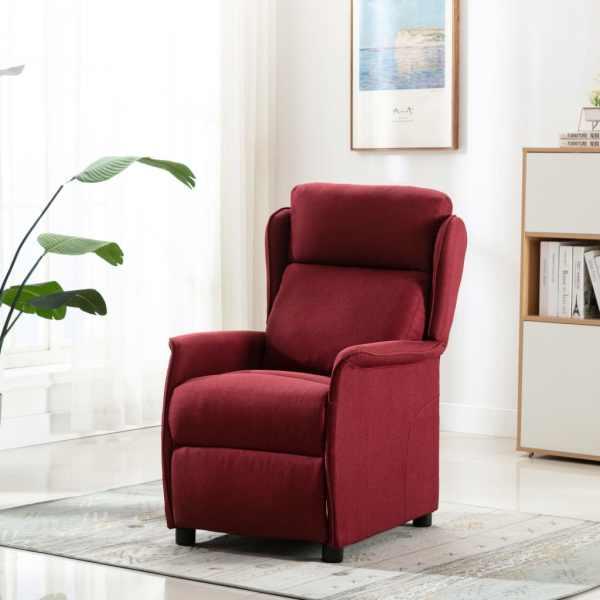 vidaXL Fotoliu rabatabil de masaj, roșu vin, material textil