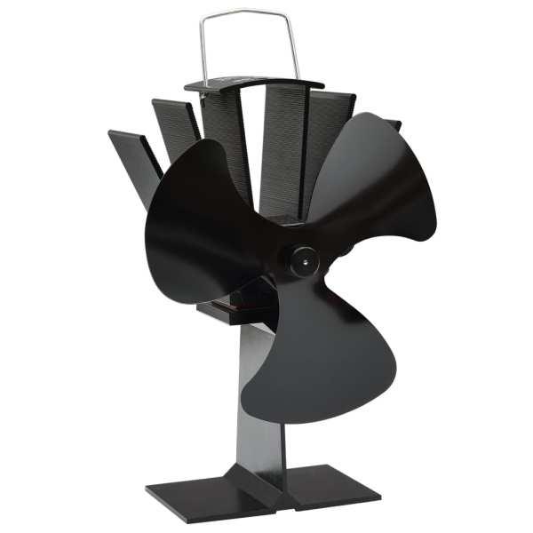vidaXL Ventilator de sobă cu alimentare termică, 3 palete, negru