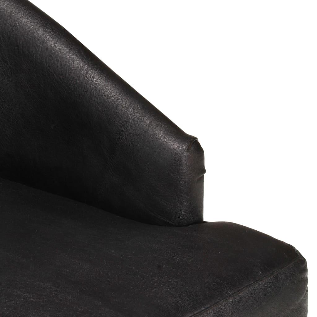 Scaune de bucătărie, 2 buc., negru, piele naturală de capră