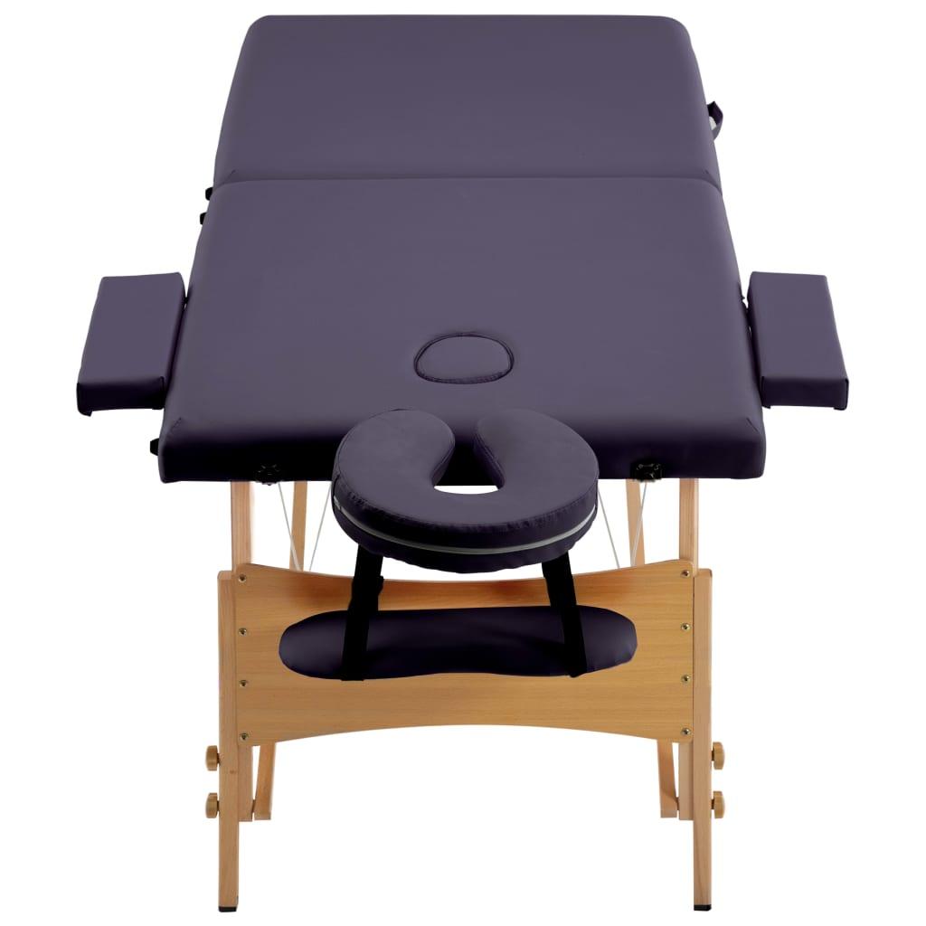 Masă de masaj pliabilă, 2 zone, violet, lemn