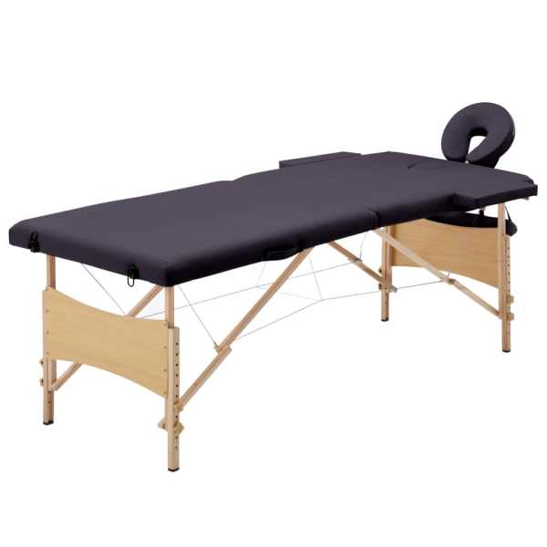 vidaXL Masă de masaj pliabilă, 2 zone, violet vin, lemn