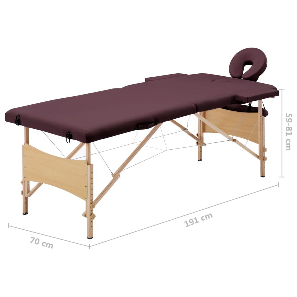 Masă de masaj pliabilă, 2 zone, violet vin, lemn