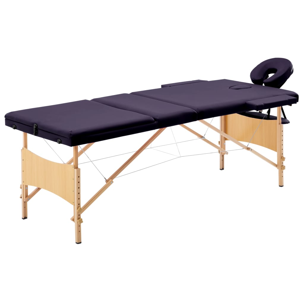 vidaXL Masă de masaj pliabilă, 3 zone, violet, lemn