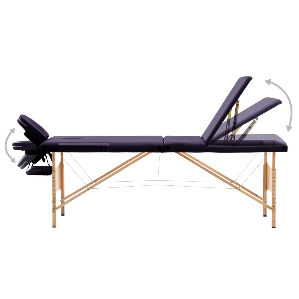 Masă de masaj pliabilă, 3 zone, violet, lemn