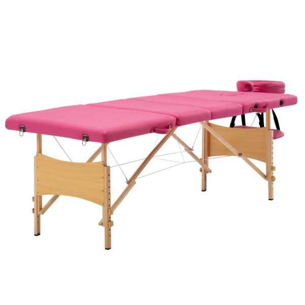 vidaXL Masă de masaj pliabilă, 4 zone, roz, lemn