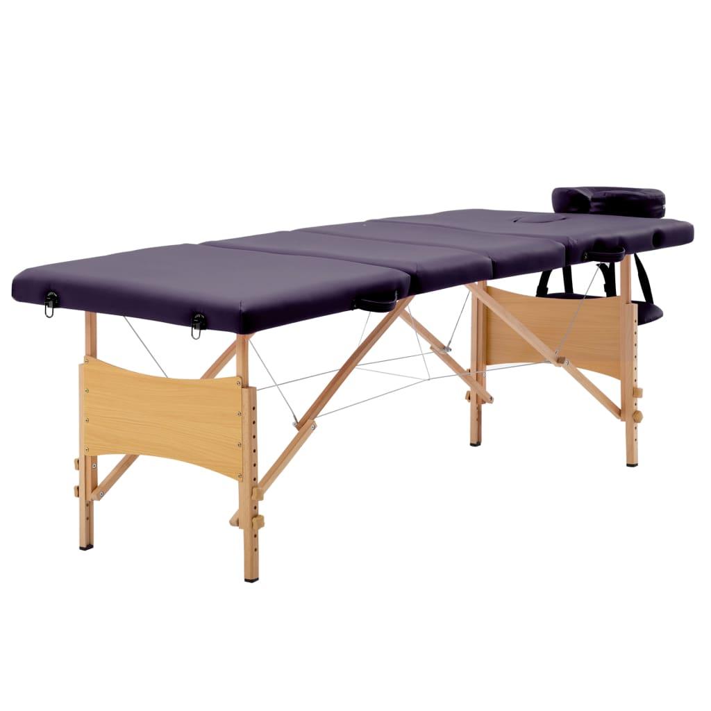 vidaXL Masă pliabilă de masaj, 4 zone, violet, lemn