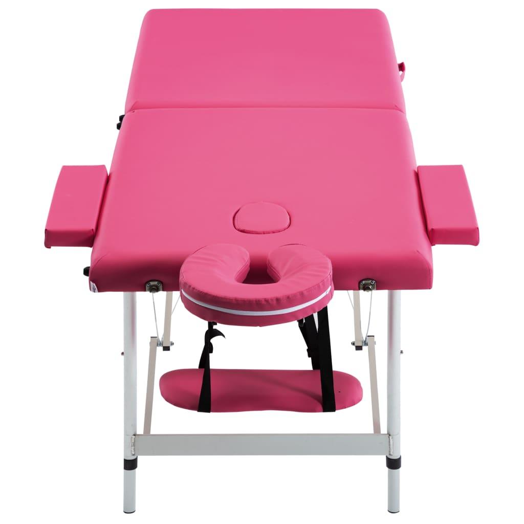 vidaXL Masă de masaj pliabilă, 2 zone, roz, aluminiu