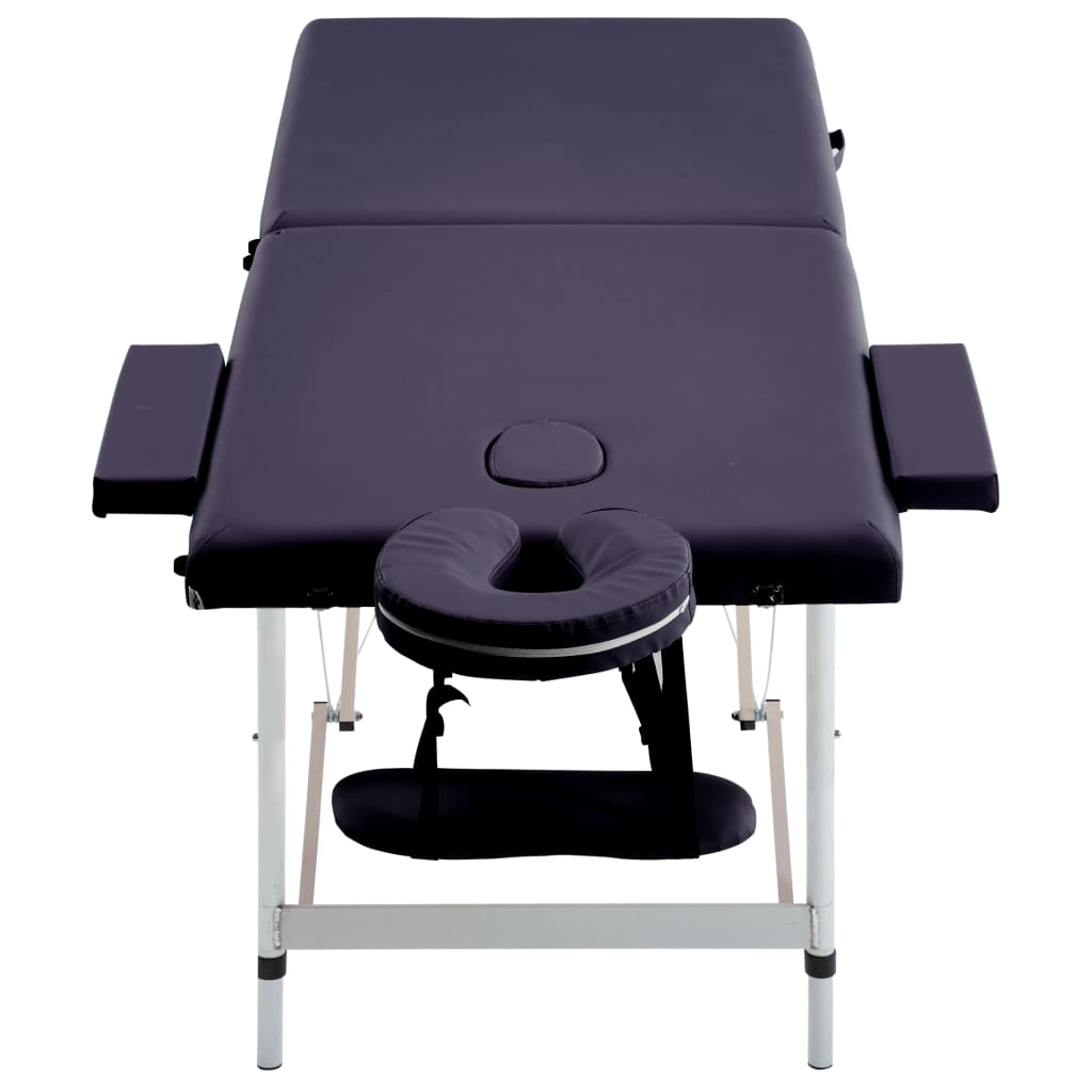 Masă de masaj pliabilă, 2 zone, violet, aluminiu