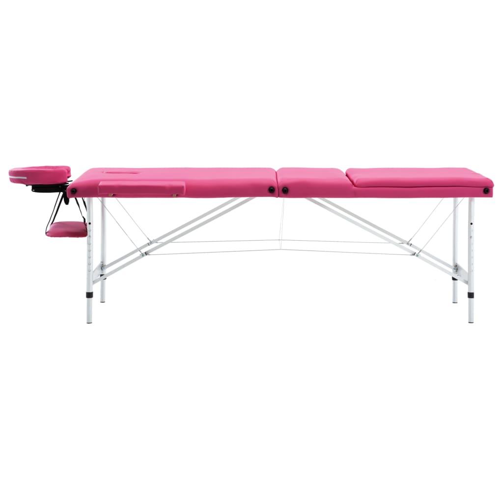 Masă de masaj pliabilă, 3 zone, roz, aluminiu