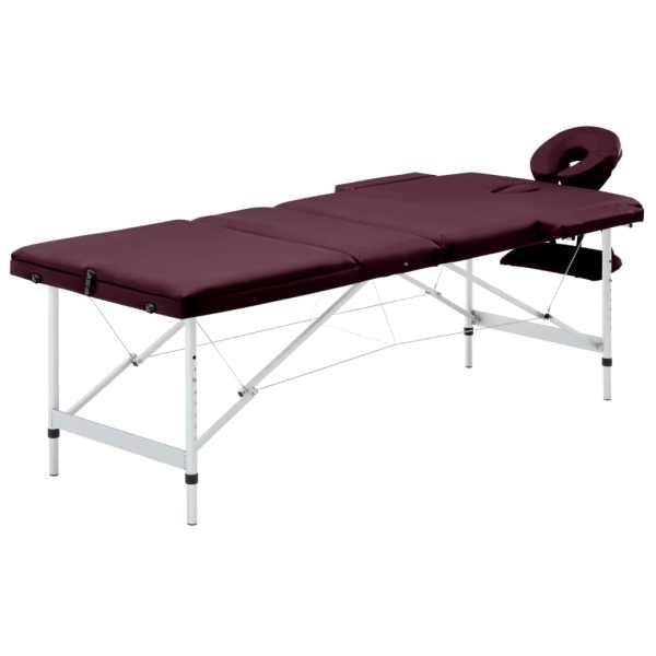 vidaXL Masă de masaj pliabilă cu 3 zone, violet vin, aluminiu