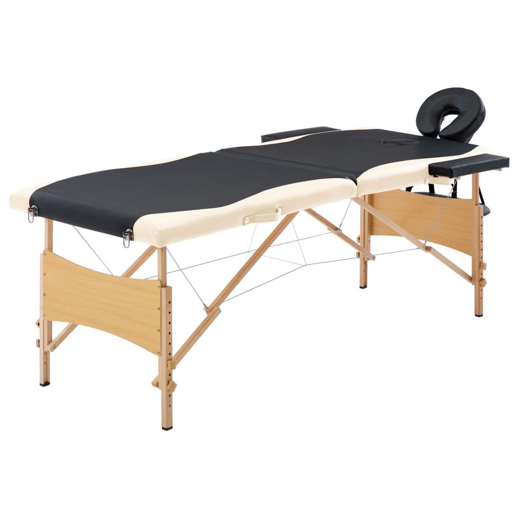 vidaXL Masă de masaj pliabilă, 2 zone, negru și bej, lemn