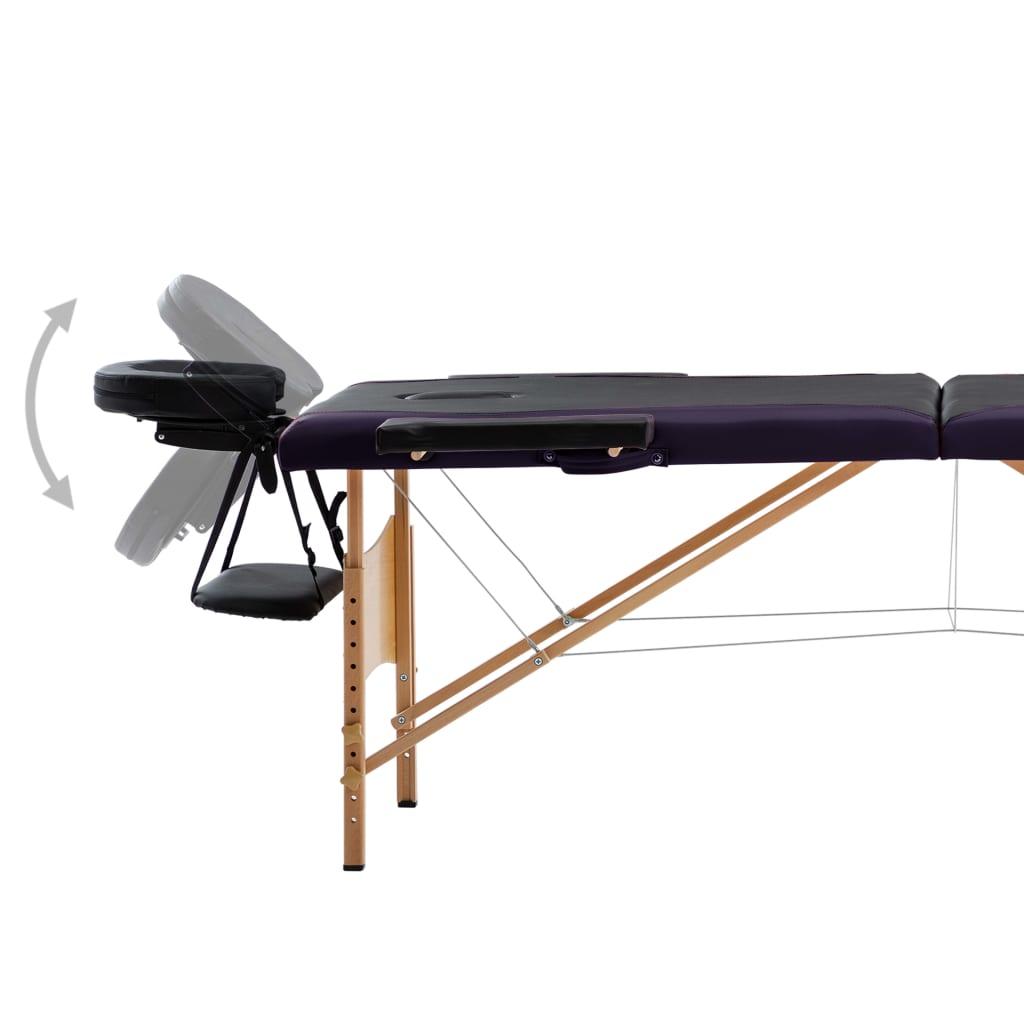 Masă pliabilă de masaj, 2 zone, negru, lemn