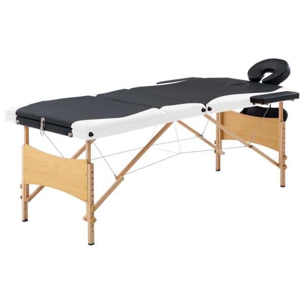 vidaXL Masă de masaj pliabilă, 3 zone, negru și alb, lemn