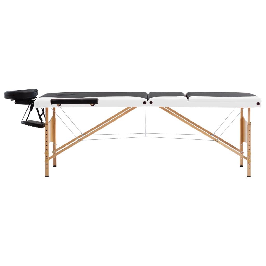 Masă de masaj pliabilă, 3 zone, negru și alb, lemn