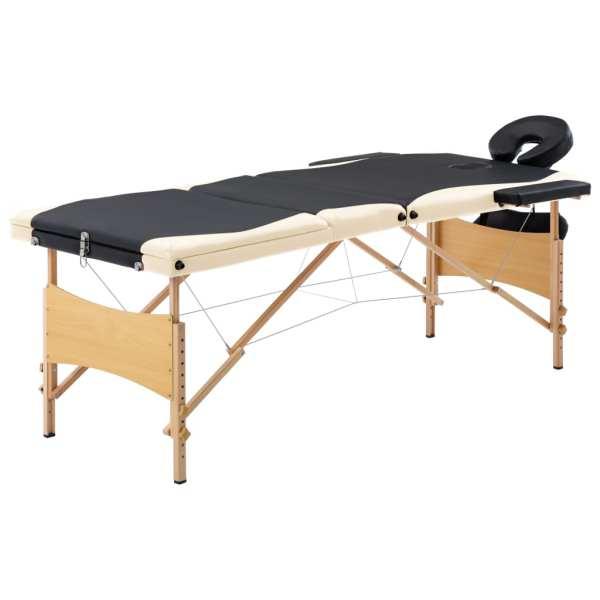 vidaXL Masă de masaj pliabilă, 3 zone, negru și bej, lemn
