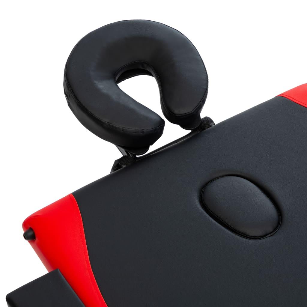 Masă de masaj pliabilă, 3 zone, negru și roșu, lemn