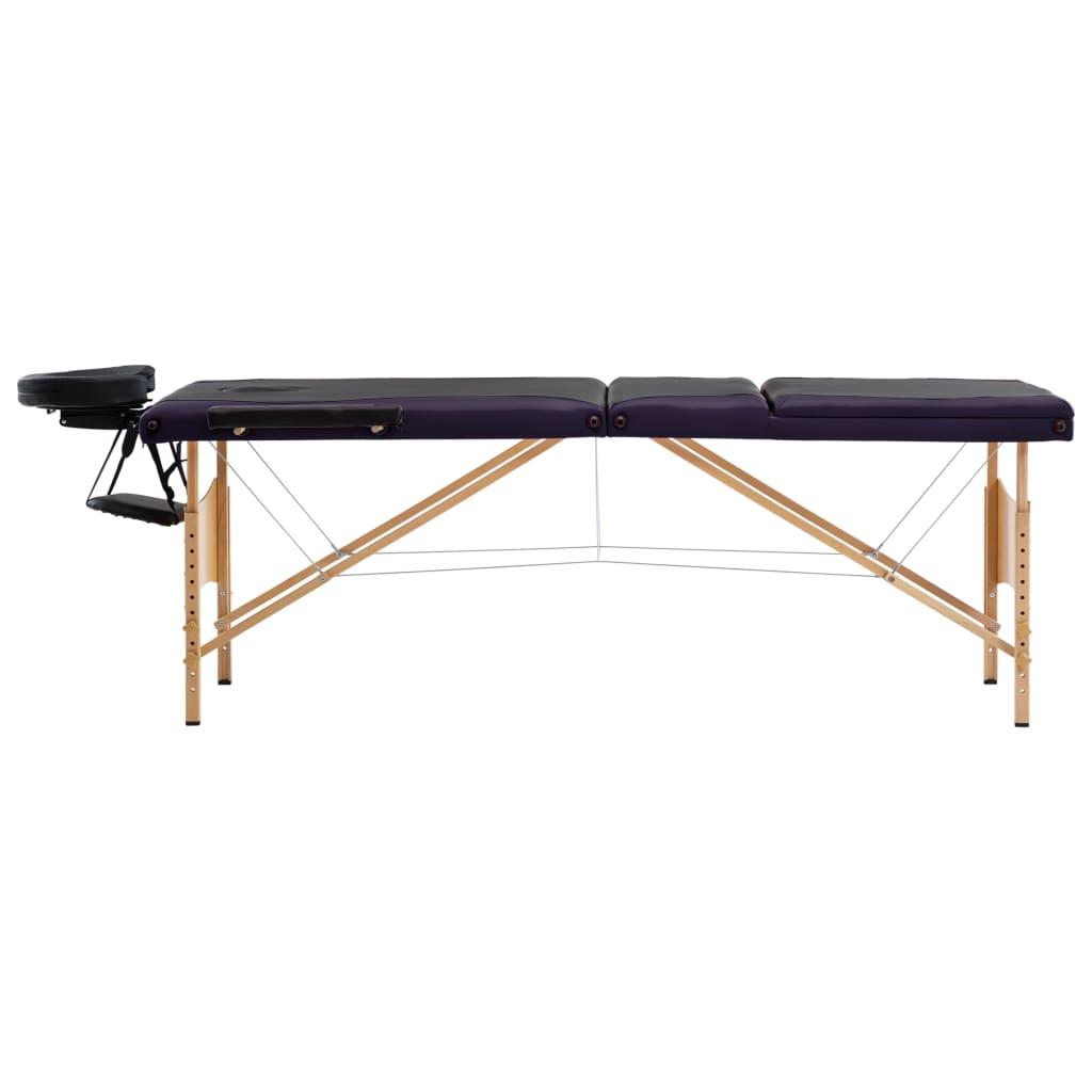 Masă de masaj pliabilă, 3 zone, negru și violet, lemn