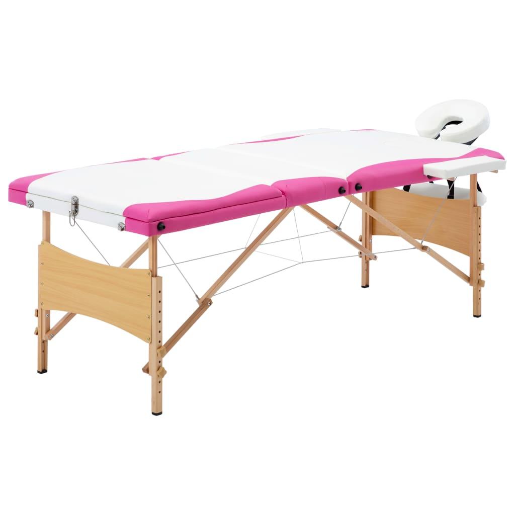 vidaXL Masă pliabilă de masaj, 3 zone, alb și roz, lemn