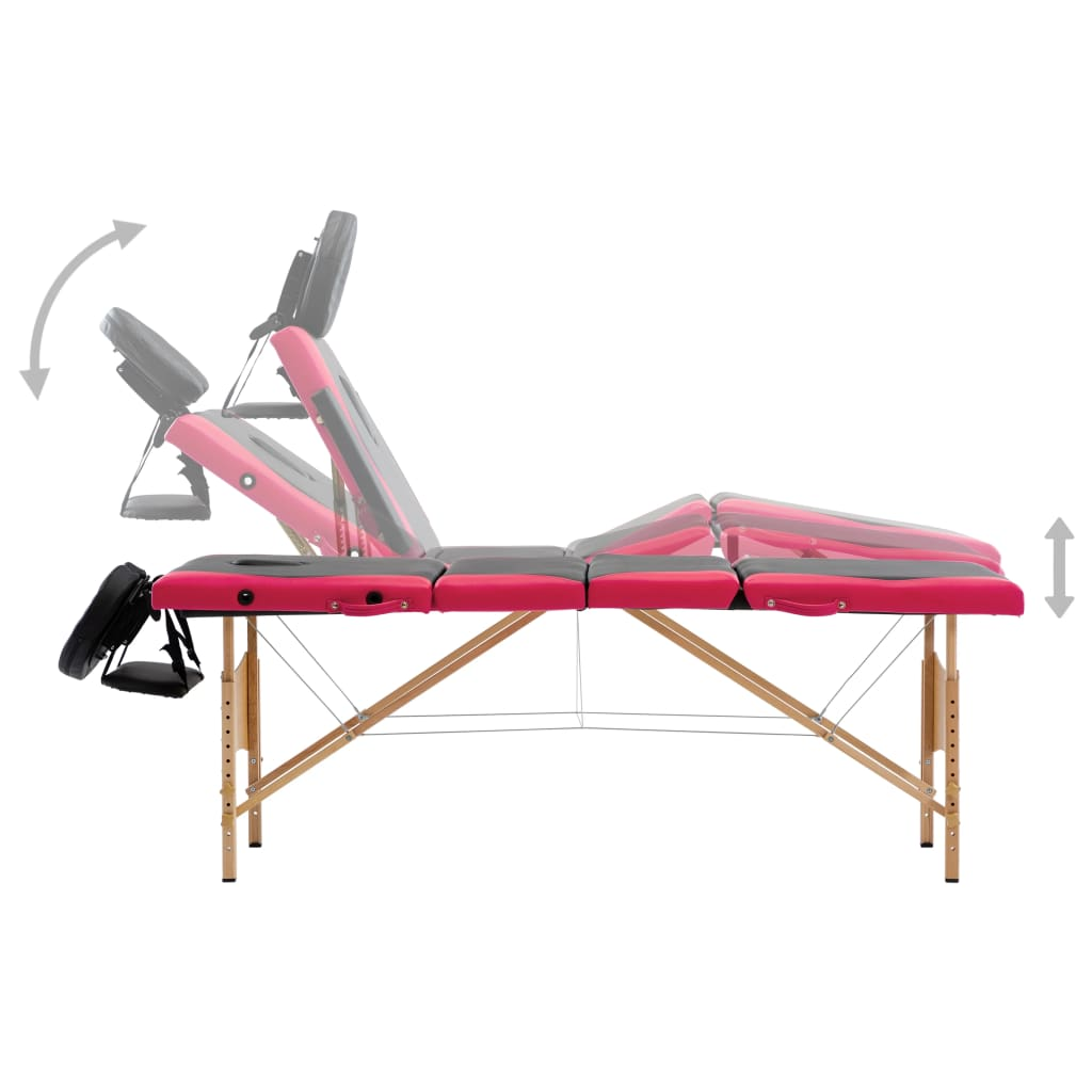 vidaXL Masă pliabilă de masaj, 4 zone, negru și roz, lemn
