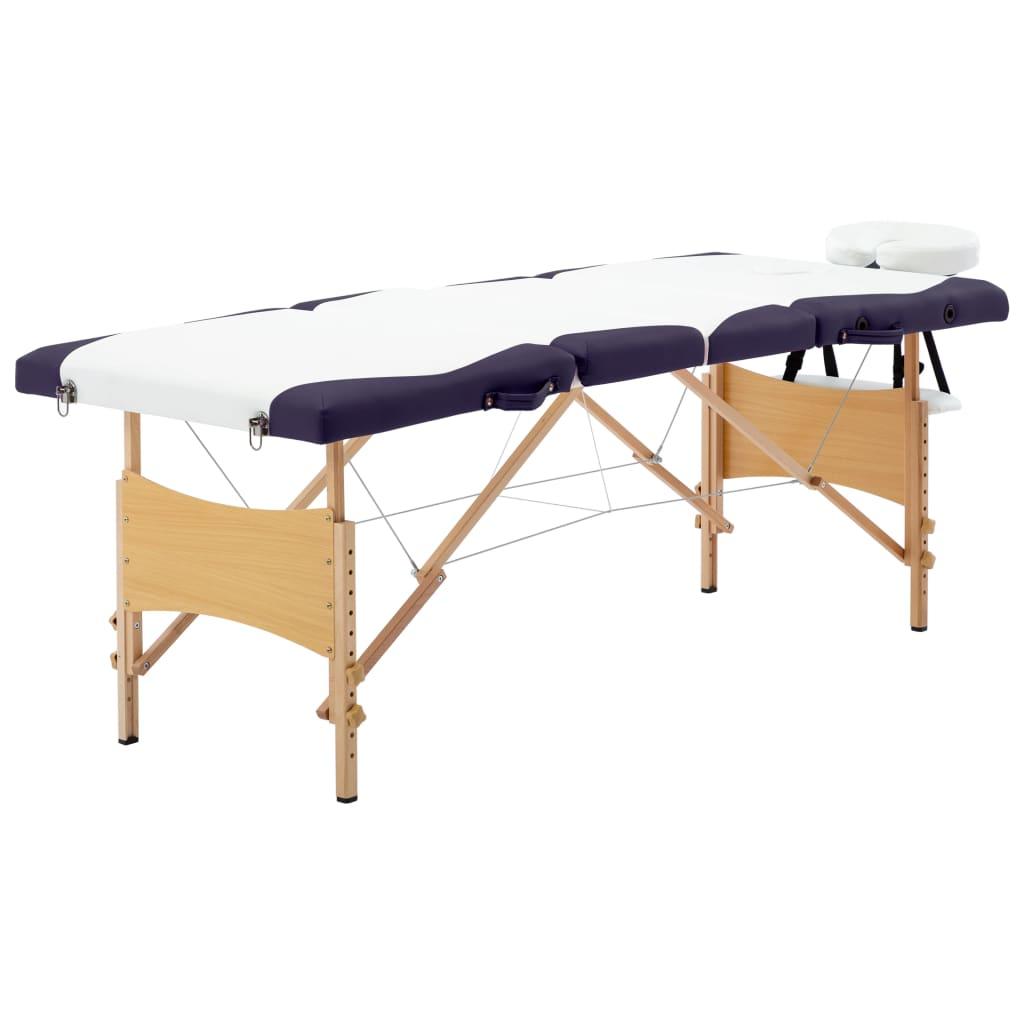 vidaXL Masă pliabilă de masaj, 4 zone, alb și violet, lemn