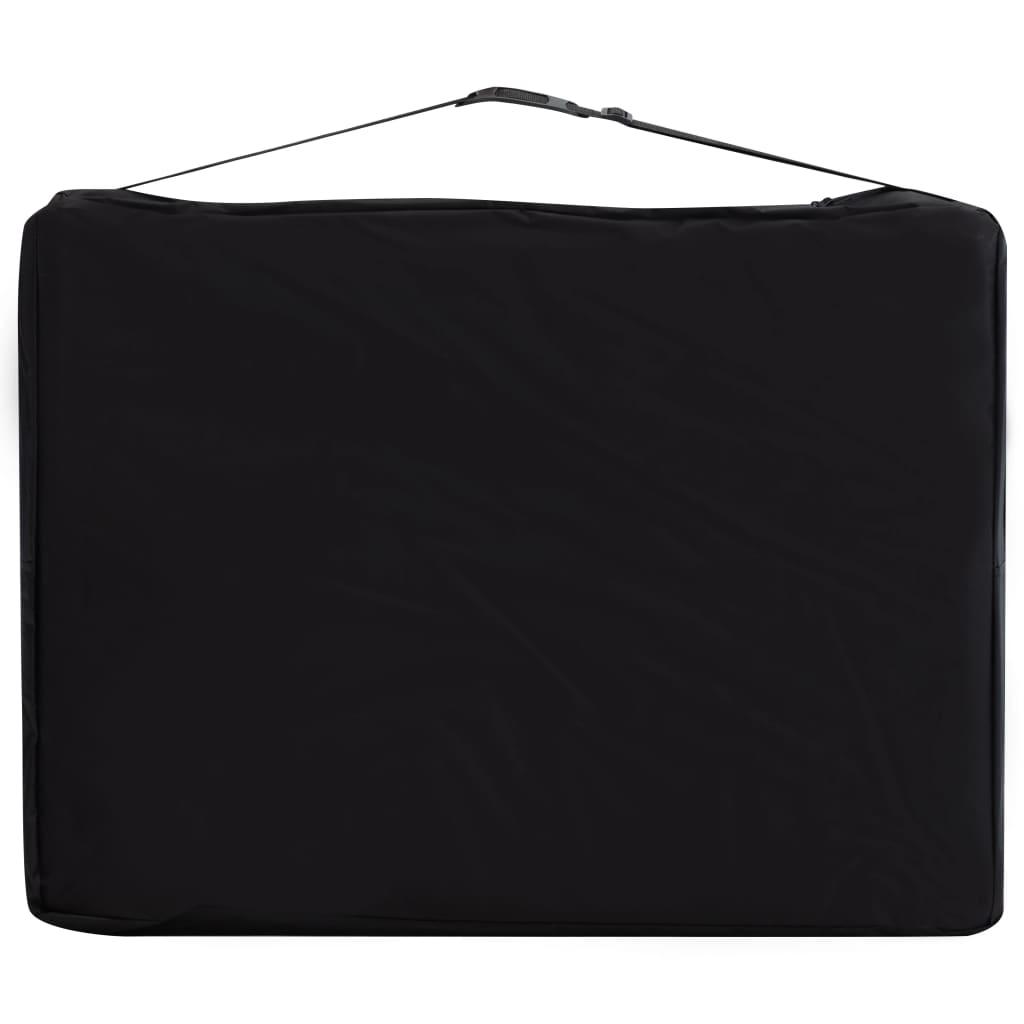 vidaXL Masă pliabilă de masaj, 2 zone, negru și violet, aluminiu