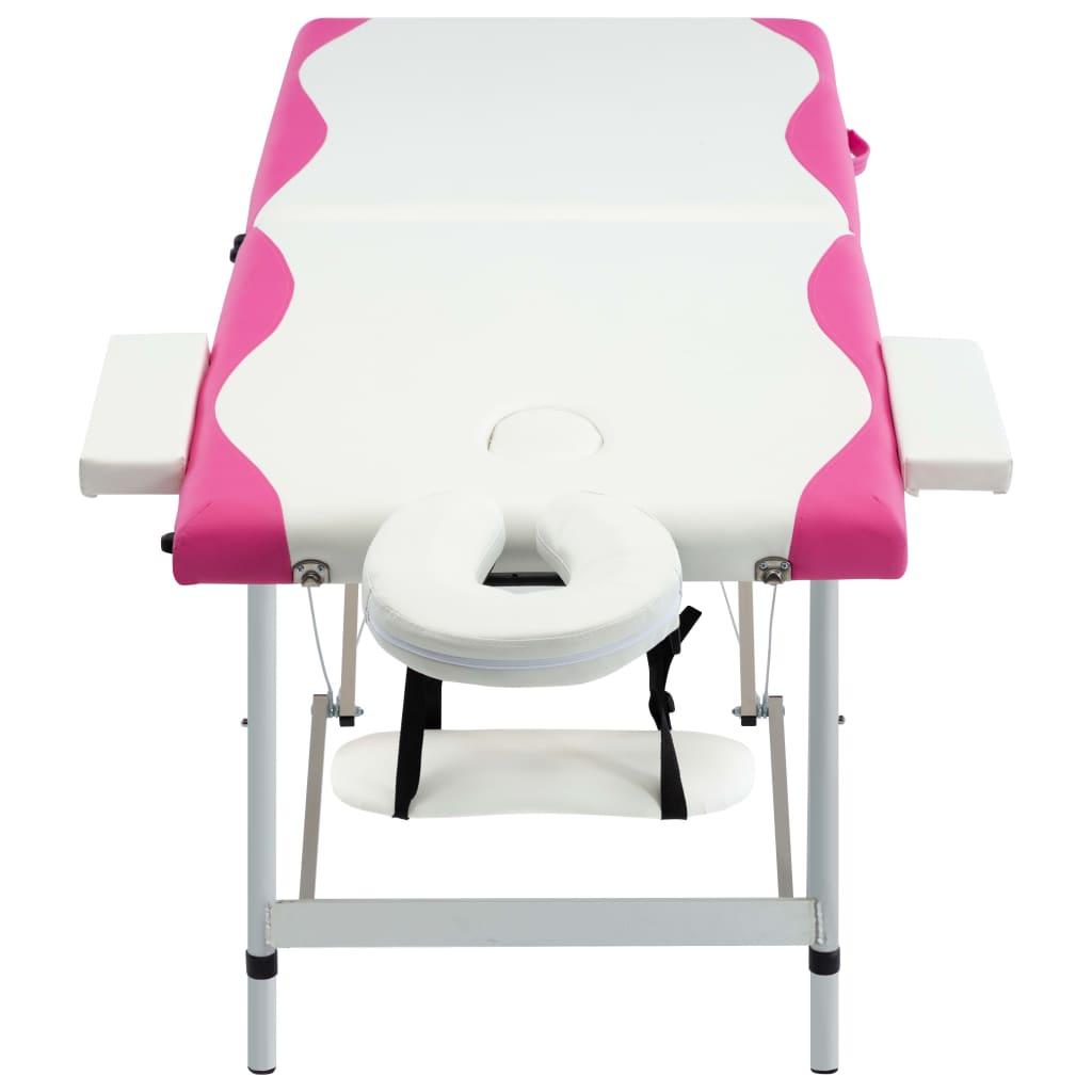 vidaXL Masă pliabilă de masaj, 2 zone, alb și roz, aluminiu