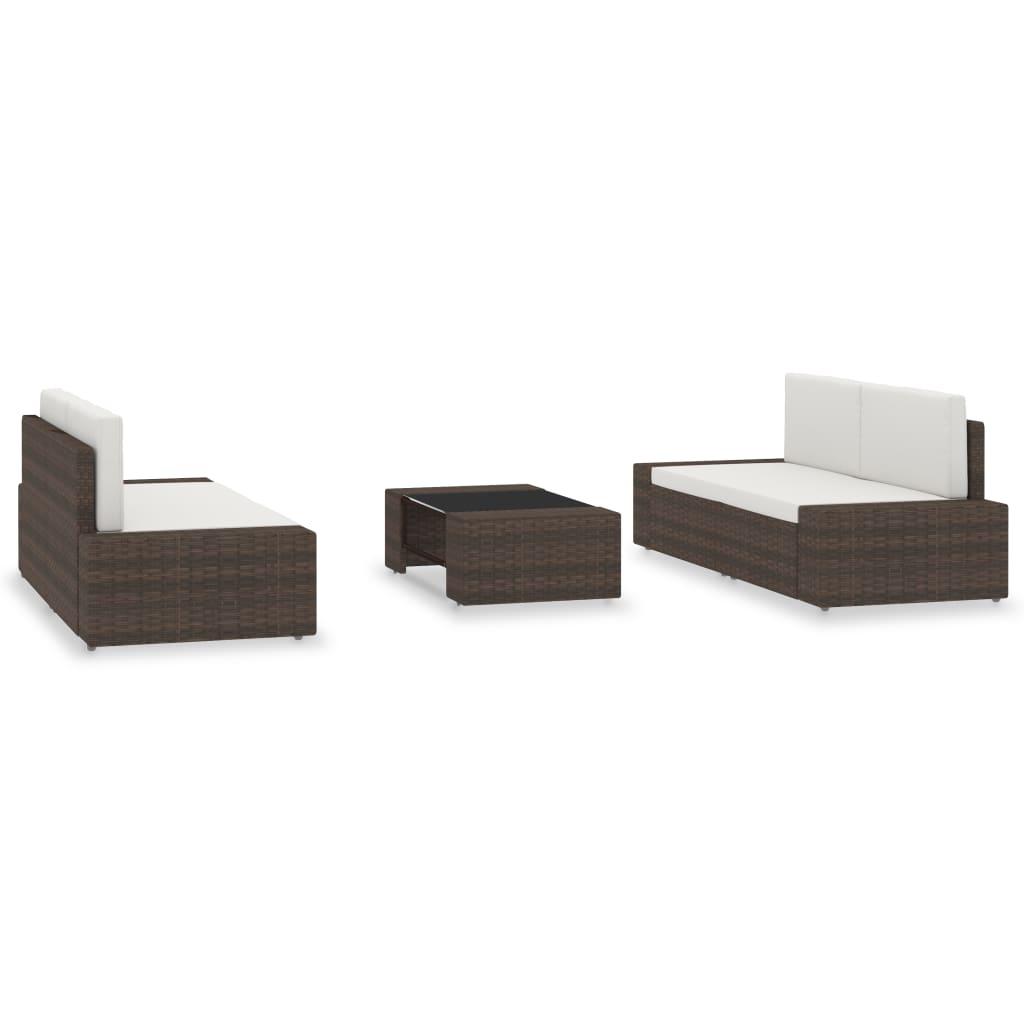 Set mobilier de grădină, 5 piese, maro, poliratan